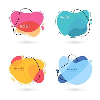 Bannières vectorielles abstraites de forme libre moderne design plat de différentes couleurs avec espace de texte