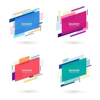 Bannières vectorielles abstraites modernes formes géométriques plates de différentes couleurs avec espace de texte