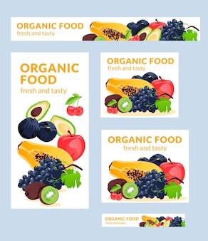 Les bannières vectorielles d'illustration d'aliments biologiques de différentes tailles conviennent à l'affiche flyer et relat