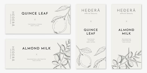 Bannières végétaliennes minimalistes avec illustration d'art en ligne