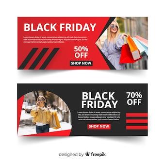 Bannières de vendredi design plat noir avec photo