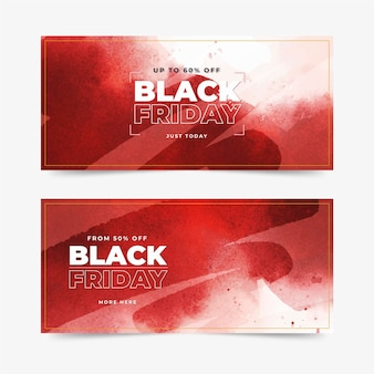 Bannières de vendredi noir aquarelle tache