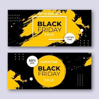 Bannières de vendredi noir au design plat