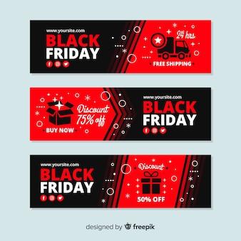 Bannières de vendredi noir coloré au design plat