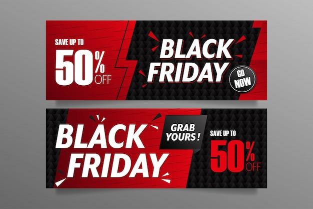 Bannières de vendredi noir dans les couleurs rouges et noires