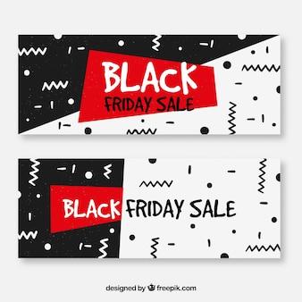 Bannières de vendredi noir dans le style de memphis