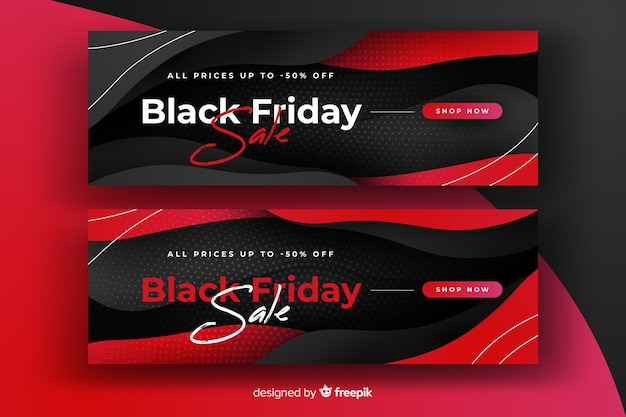 Bannières de vendredi noir dégradé rouge