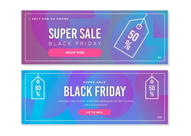 Bannières de vendredi noir dégradé