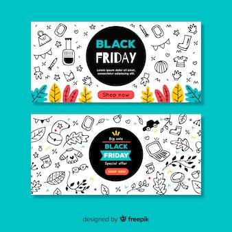 Bannières de vendredi noir dessinées à la main moderne