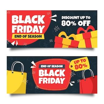 Bannières de vendredi noir dessinées à la main
