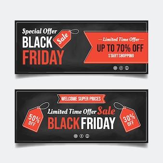 Bannières de vendredi noir dessinés à la main