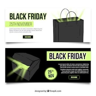 Bannières vendredi noir avec des détails verts