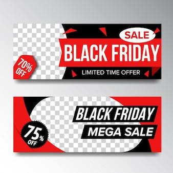 Bannières vendredi noir fixées