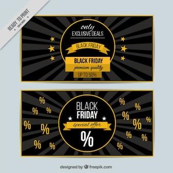 Bannières vendredi noir foncé et jaune
