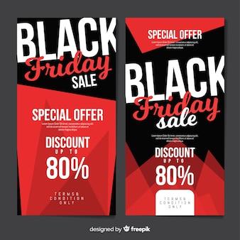 Bannières de vendredi noir moderne au design plat