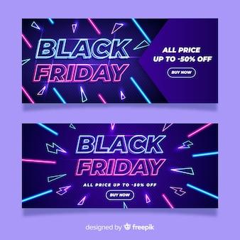 Bannières de vendredi noir néon