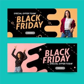 Bannières de vendredi noir avec photo au design plat