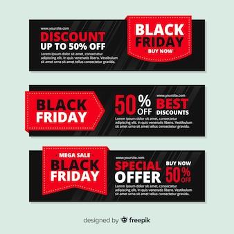 Bannières de vendredi noir rouge au design plat