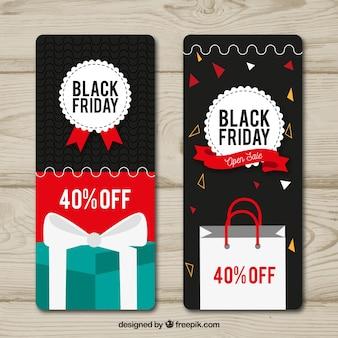 Bannières de vendredi noir vertical