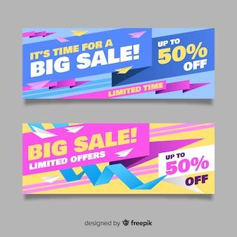 Bannières de vente abstraite origami