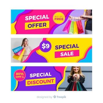 Bannières de vente abstraite avec photo