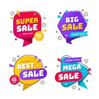 Bannières de vente abstraites colorées