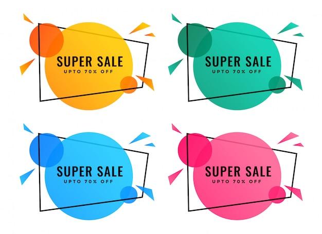 Bannières de vente abstraites de différentes couleurs