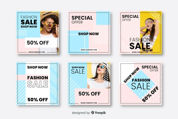 Bannières de vente abstraites pour les médias sociaux