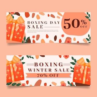 Bannières de vente aquarelle boxe day