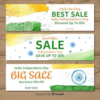 Bannières de vente d'aquarelle inde fête de l'indépendance
