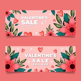 Bannières de vente aquarelle saint valentin