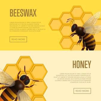 Bannières de vente au détail de miel et de cire d'abeille