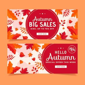 Bannières de vente d'automne au design plat