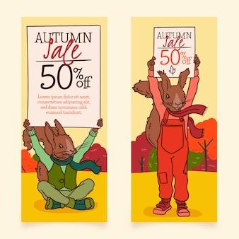 Bannières de vente automne design dessiné à la main