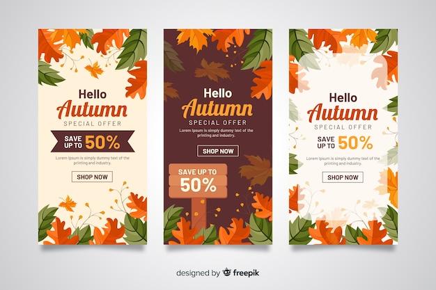 Bannières de vente d'automne design plat