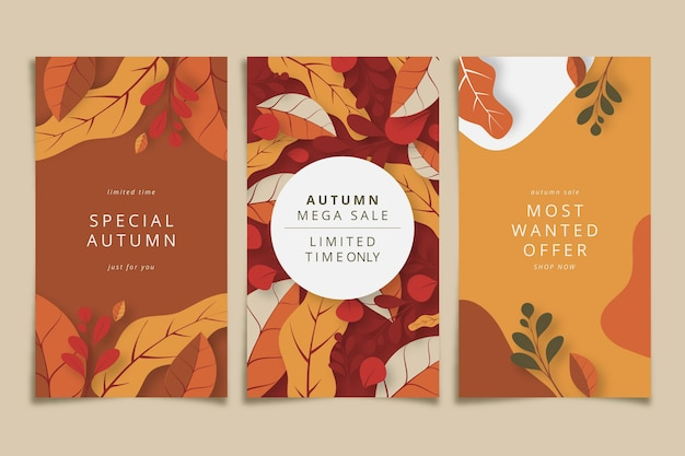 Bannières de vente automne design plat