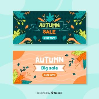 Bannières de vente automne dessinés à la main
