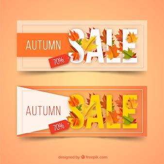 Bannières de vente automne élégant avec un design réaliste