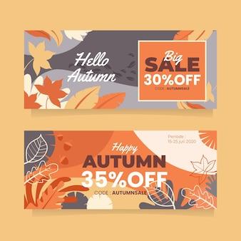 Bannières de vente d'automne avec des feuilles