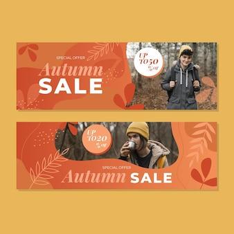 Bannières de vente d'automne horizontales dégradées avec photo