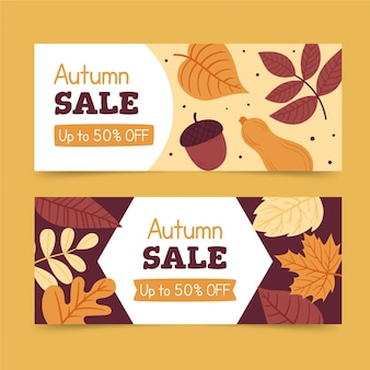 Bannières de vente automne horizontales dessinées à la main