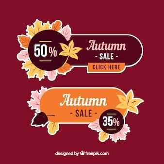 Bannières de vente automne moderne avec un design plat