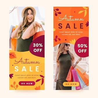Bannières de vente d'automne avec photo