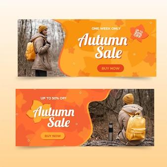 Bannières de vente d'automne plat sertie de photo