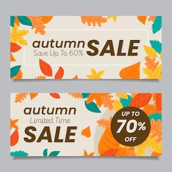 Bannières de vente automne plat
