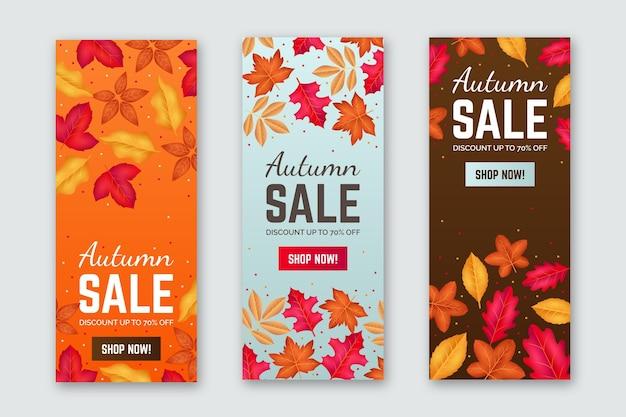 Bannières de vente automne réalistes