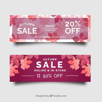 Bannières de vente automne rose