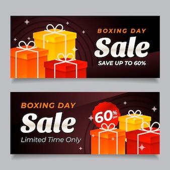 Bannières de vente de boxe day au design plat