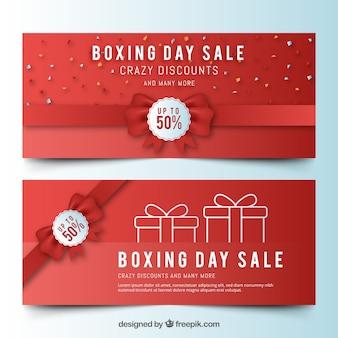 Bannières de vente de boxe jour avec ruban rouge