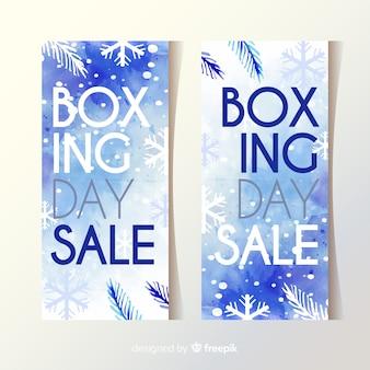 Bannières de vente boxing day à l'aquarelle